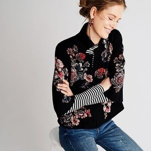 NEW Anthropologie Jacquard Floral Blazer